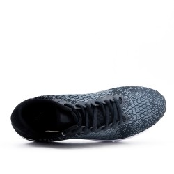 Blue sneaker in stretch textile with lace