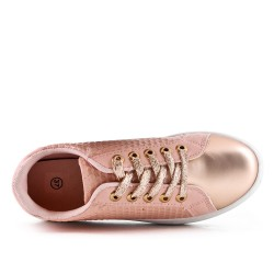Basket rose en simili cuir à lacet