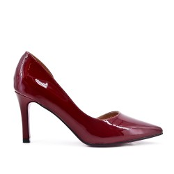 Red wine patent leather heels