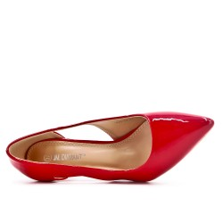 Red patent pump with heel