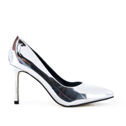 Silver high heel pump
