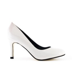 White patent leather heels