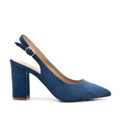 Zapatos de tacón de ante azul con tacón