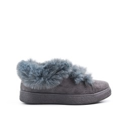 Gray girl boot with fur