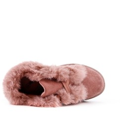 Pink girl boot with fur