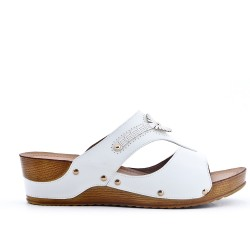 Large size - white faux leather wedge