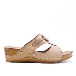 Large size - beige faux leather wedge