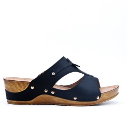 Large size - Black faux leather wedge