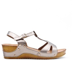 Large size - Gray sandal with small wedge