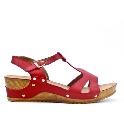 Large size - Red sandal with small wedge
