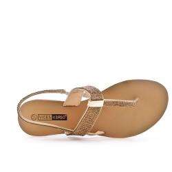 Big Size - Golden Rhinestone Sandal