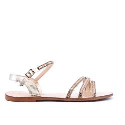 Grande taille - Sandale dorée à strass