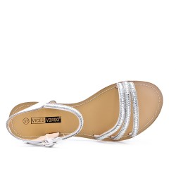 Tamaño grande - Sandalia de diamantes de imitación de plata