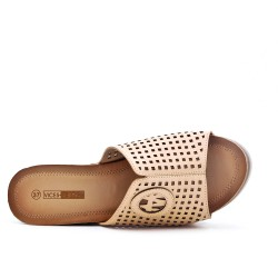 Beige wedge clasp in imitation leather