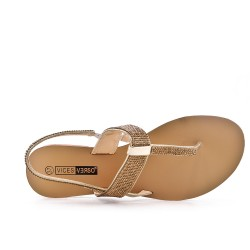 Golden Tong sandal with rhinestones