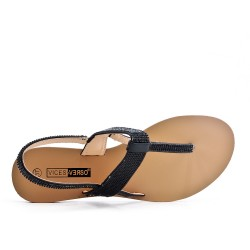 Black Tong sandal with rhinestones