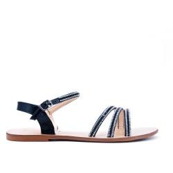 Sandale noir ornée de strass