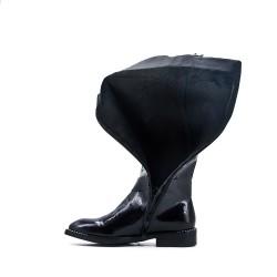 Botte noire en simili cuir avec empiècement élastique au dos