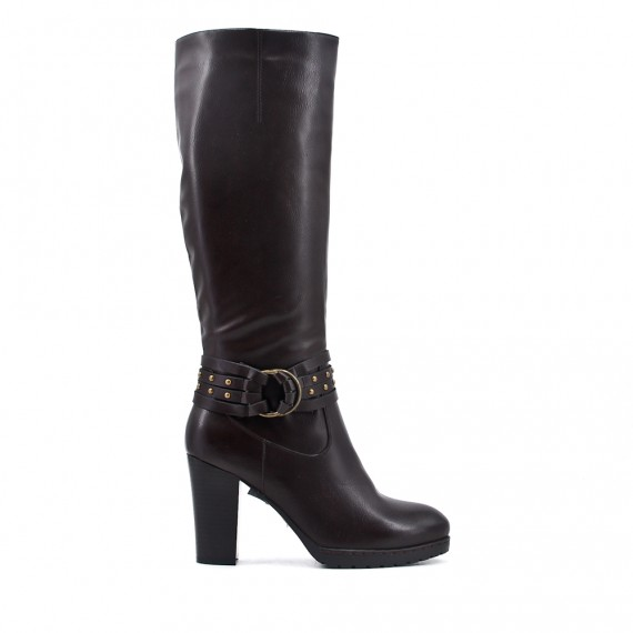 Brown imitation leather boot with flange