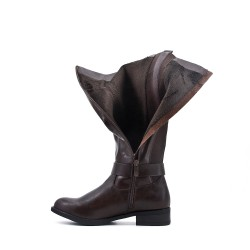 Botte marron en simili cuir