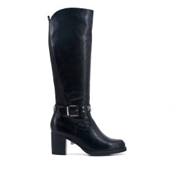 Black imitation leather boot with elasticated back panel
