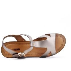 Sandale grise à petit compensé