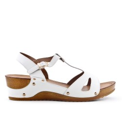 Large size - White sandal with small wedge
