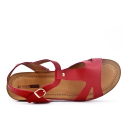 Red sandal with small wedge