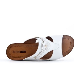 White faux leather wedge