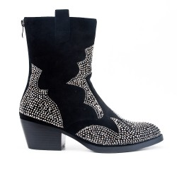 Black boot with rhinestones