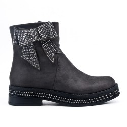 Gray ankle boot with bow suede