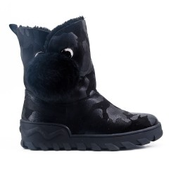 Black boot stuffed with pompom