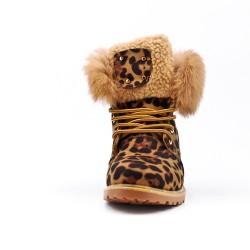 Botte léopard fourrée à lacet