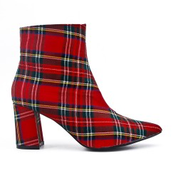 Red check heel boot