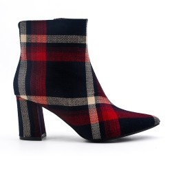 Black check heel boot