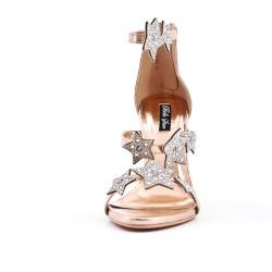 Sandale champagne à motif étoile strass