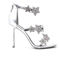 Sandale argent à motif étoile strass