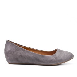 Gray ballerina in faux suede