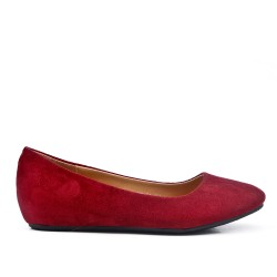 Red wine ballerina in faux suede