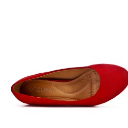 Red ballerinafaux in faux suede