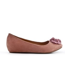 Pink comfort ballerina with flower pattern