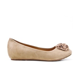 Beige comfort ballerina with flower pattern