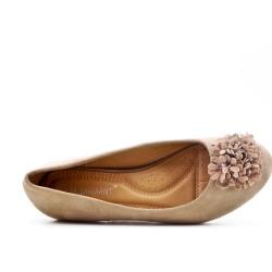Bailarina de confort beige con estampado de flores