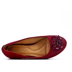 Red comfort ballerina with flower pattern
