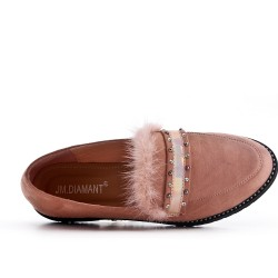 Pink moccasin in faux suede with feather