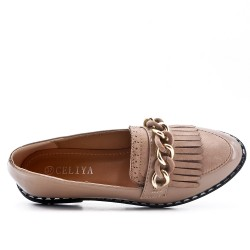 Khaki moccasin with bangs