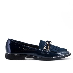 Blue moccasin in bangs