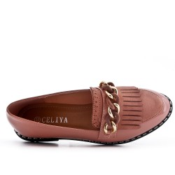 Pink moccasin in bangs