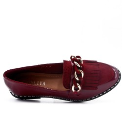 Red moccasin in bangs