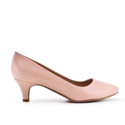 Pink leatherette pump